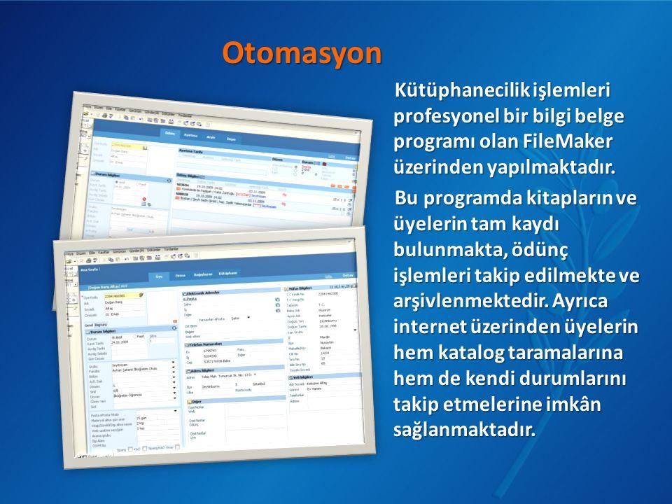 Kütüphanecilik işlemleri profesyonel bir bilgi belge programı olan FileMaker üzerinden yapılmaktadır. Bu programda kitapların ve üyelerin tam kaydı bu