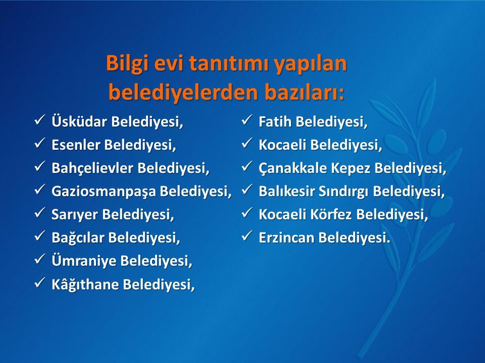 Bilgi evi tanıtımı yapılan belediyelerden bazıları:  Üsküdar Belediyesi,  Esenler Belediyesi,  Bahçelievler Belediyesi,  Gaziosmanpaşa Belediyesi,