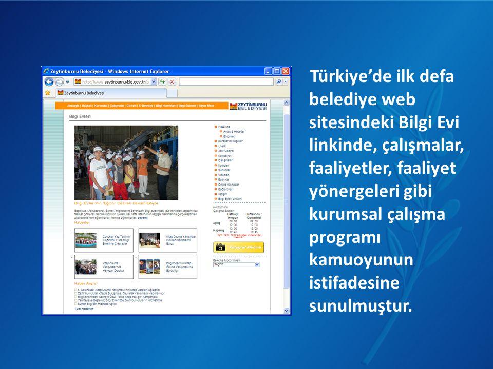 Türkiye'de ilk defa belediye web sitesindeki Bilgi Evi linkinde, çalışmalar, faaliyetler, faaliyet yönergeleri gibi kurumsal çalışma programı kamuoyun