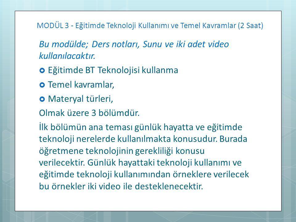 MODÜL 3 - Eğitimde Teknoloji Kullanımı ve Temel Kavramlar (2 Saat) Bu modülde; Ders notları, Sunu ve iki adet video kullanılacaktır.  Eğitimde BT Tek