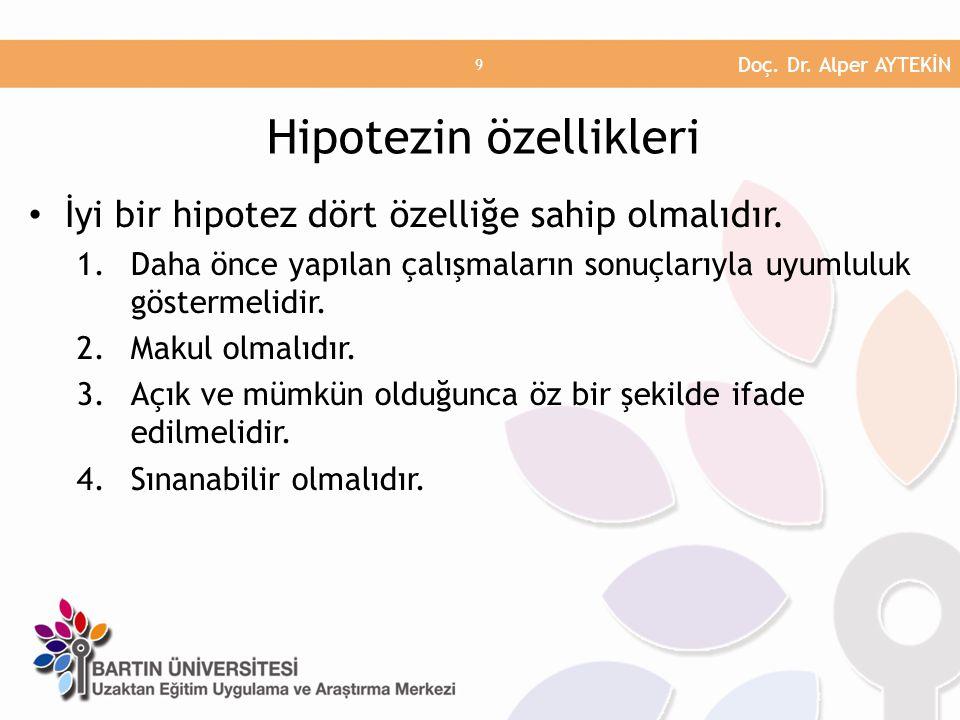 Hipotez Türleri Araştırma Hipotezleri Yön Belirten Hipotezler Yön Belirtmeyen Hipotezler İstatiksel Hipotez Ho (Null- Hipotezi) H1 (Alternatif Hipotez) HİPOTEZ TÜRLERİ Doç.