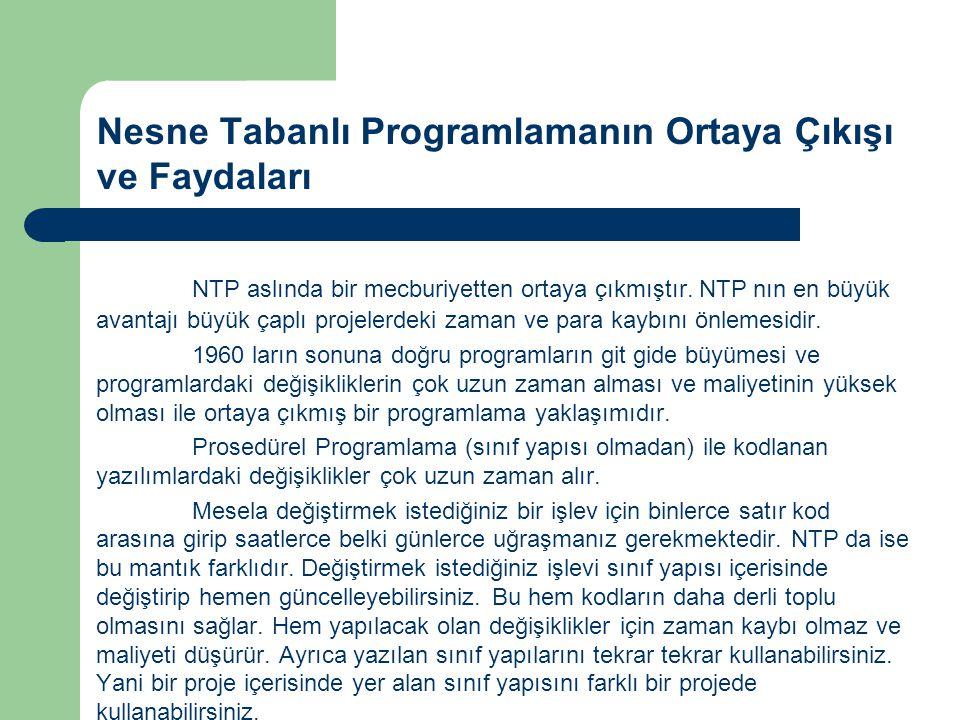 Nesne Tabanlı Programlamanın Ortaya Çıkışı ve Faydaları NTP aslında bir mecburiyetten ortaya çıkmıştır. NTP nın en büyük avantajı büyük çaplı projeler