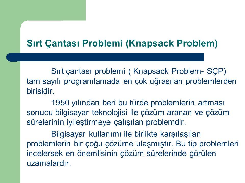 Sırt Çantası Problemi (Knapsack Problem) Sırt çantası problemi ( Knapsack Problem- SÇP) tam sayılı programlamada en çok uğraşılan problemlerden birisi