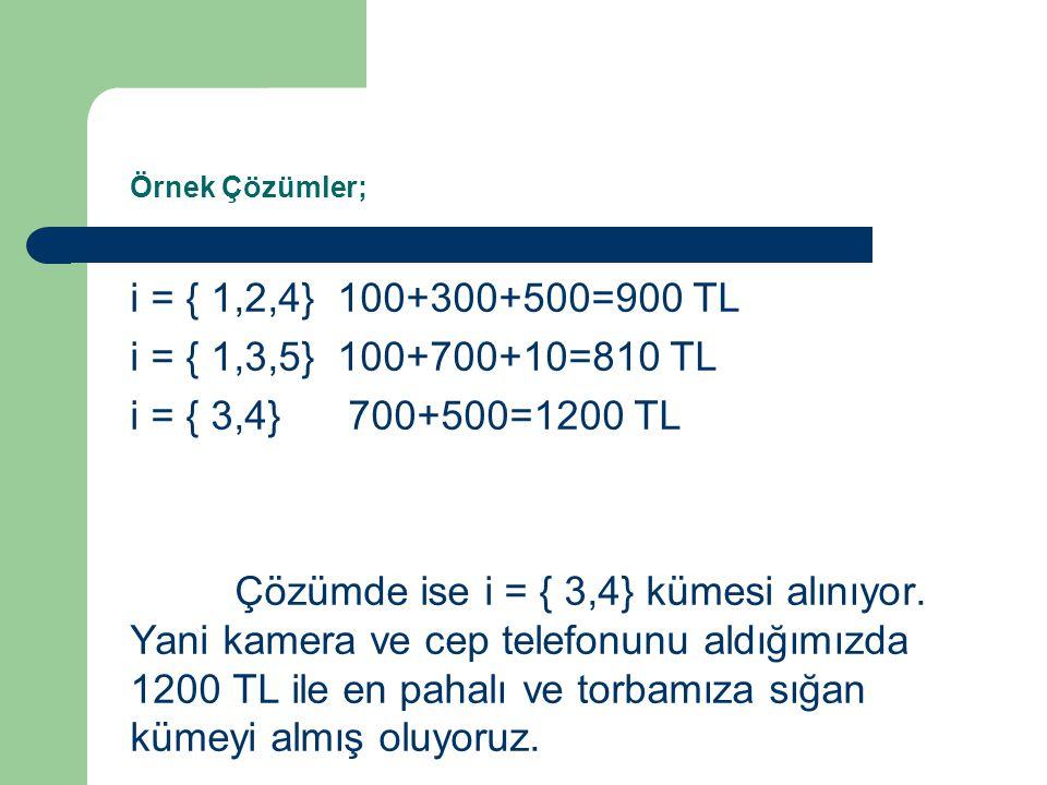 Örnek Çözümler; i = { 1,2,4} 100+300+500=900 TL i = { 1,3,5} 100+700+10=810 TL i = { 3,4} 700+500=1200 TL Çözümde ise i = { 3,4} kümesi alınıyor. Yani