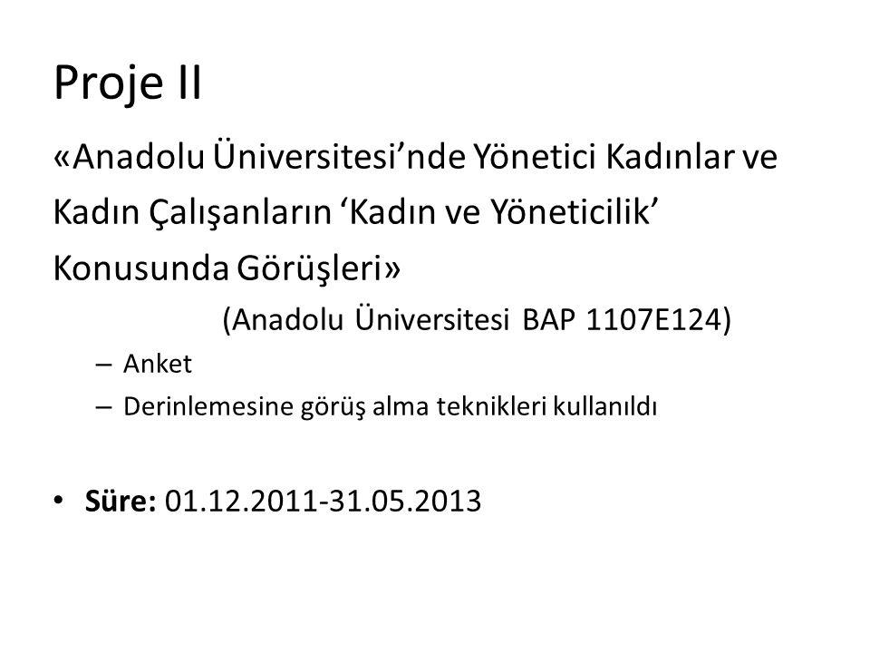 Proje II «Anadolu Üniversitesi'nde Yönetici Kadınlar ve Kadın Çalışanların 'Kadın ve Yöneticilik' Konusunda Görüşleri» (Anadolu Üniversitesi BAP 1107E