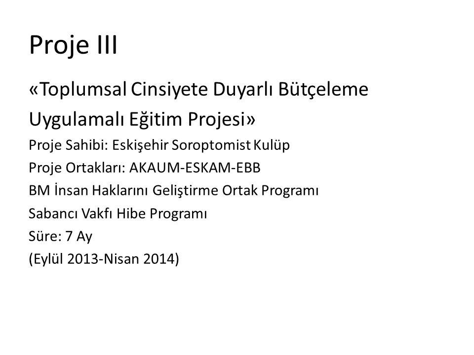 Proje III «Toplumsal Cinsiyete Duyarlı Bütçeleme Uygulamalı Eğitim Projesi» Proje Sahibi: Eskişehir Soroptomist Kulüp Proje Ortakları: AKAUM-ESKAM-EBB