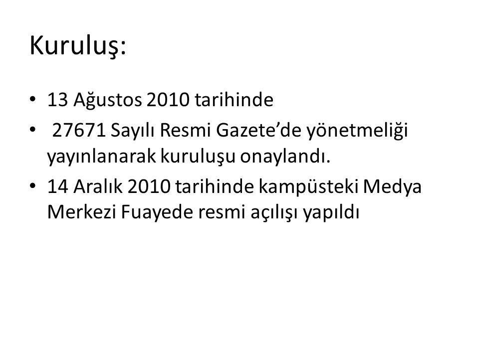 Kuruluş: • 13 Ağustos 2010 tarihinde • 27671 Sayılı Resmi Gazete'de yönetmeliği yayınlanarak kuruluşu onaylandı. • 14 Aralık 2010 tarihinde kampüsteki