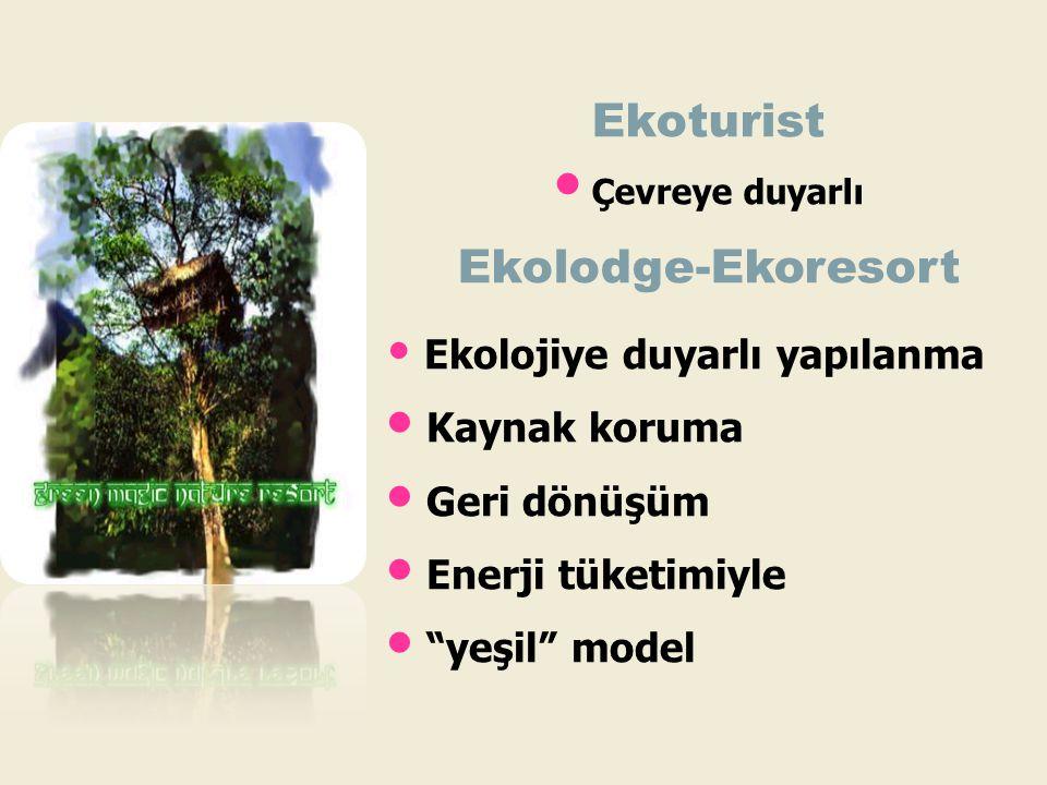 """• Ekolojiye duyarlı yapılanma • Kaynak koruma • Geri dönüşüm • Enerji tüketimiyle • """"yeşil"""" model Ekoturist • Çevreye duyarlı Ekolodge-Ekoresort"""