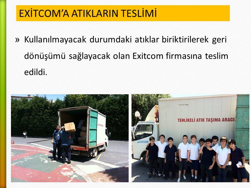 » Kullanılmayacak durumdaki atıklar biriktirilerek geri dönüşümü sağlayacak olan Exitcom firmasına teslim edildi. EXİTCOM'A ATIKLARIN TESLİMİ