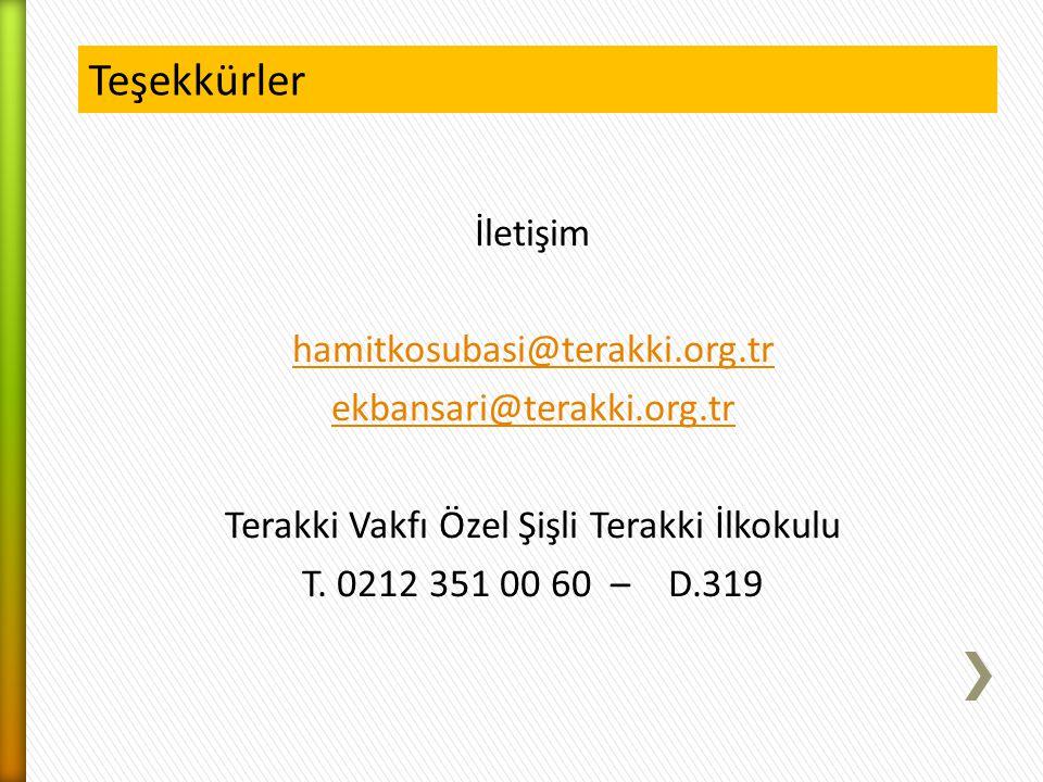 Teşekkürler İletişim hamitkosubasi@terakki.org.tr ekbansari@terakki.org.tr Terakki Vakfı Özel Şişli Terakki İlkokulu T. 0212 351 00 60 – D.319