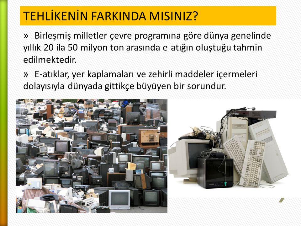 » Birleşmiş milletler çevre programına göre dünya genelinde yıllık 20 ila 50 milyon ton arasında e-atığın oluştuğu tahmin edilmektedir. » E-atıklar, y
