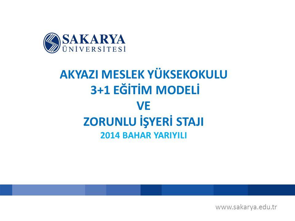 AKYAZI MESLEK YÜKSEKOKULU 3+1 EĞİTİM MODELİ VE ZORUNLU İŞYERİ STAJI 2014 BAHAR YARIYILI www.sakarya.edu.tr