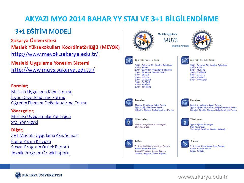 AKYAZI MYO 2014 BAHAR YY STAJ VE 3+1 BİLGİLENDİRME Sakarya Üniversitesi Meslek Yüksekokulları Koordinatörlüğü (MEYOK) http://www.meyok.sakarya.edu.tr/