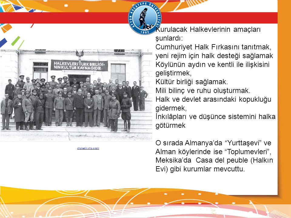 Kurulacak Halkevlerinin amaçları şunlardı: Cumhuriyet Halk Fırkasını tanıtmak, yeni rejim için halk desteği sağlamak Köylünün aydın ve kentli ile iliş