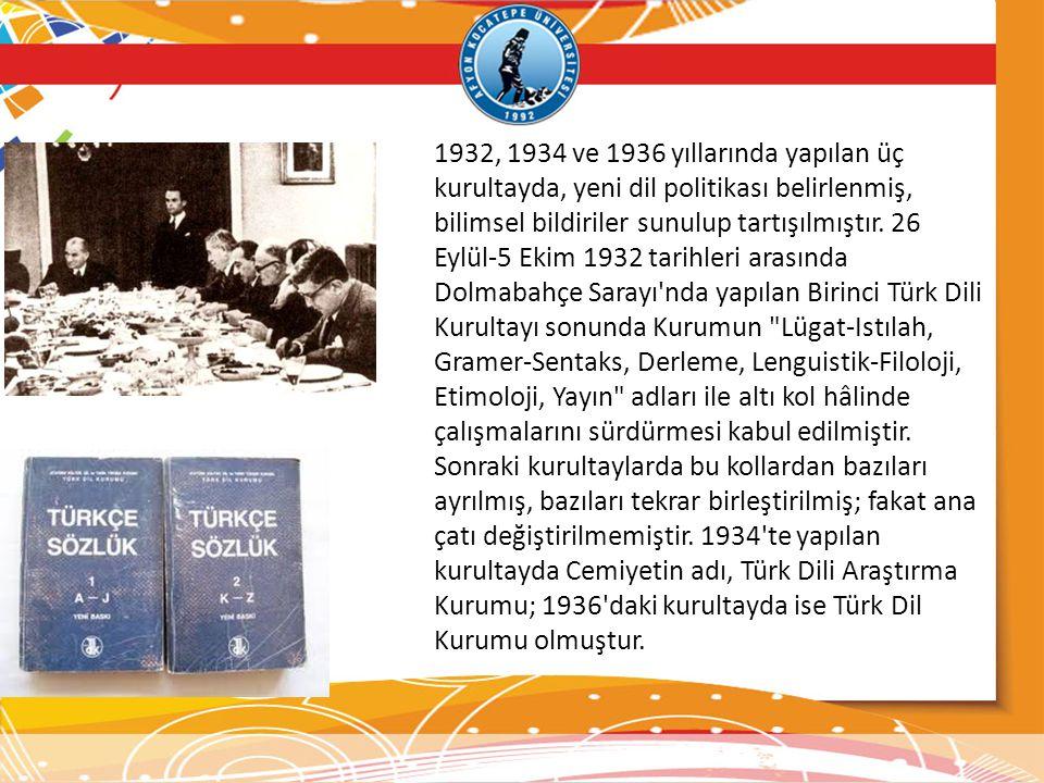 1932, 1934 ve 1936 yıllarında yapılan üç kurultayda, yeni dil politikası belirlenmiş, bilimsel bildiriler sunulup tartışılmıştır. 26 Eylül-5 Ekim 1932