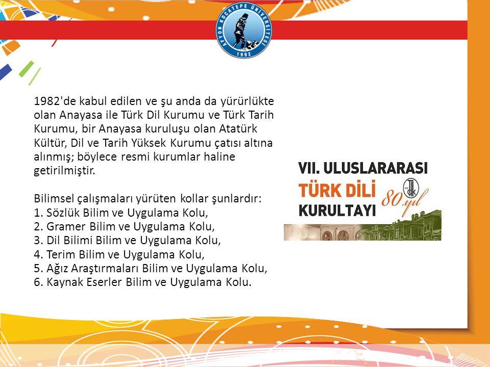 1982'de kabul edilen ve şu anda da yürürlükte olan Anayasa ile Türk Dil Kurumu ve Türk Tarih Kurumu, bir Anayasa kuruluşu olan Atatürk Kültür, Dil ve