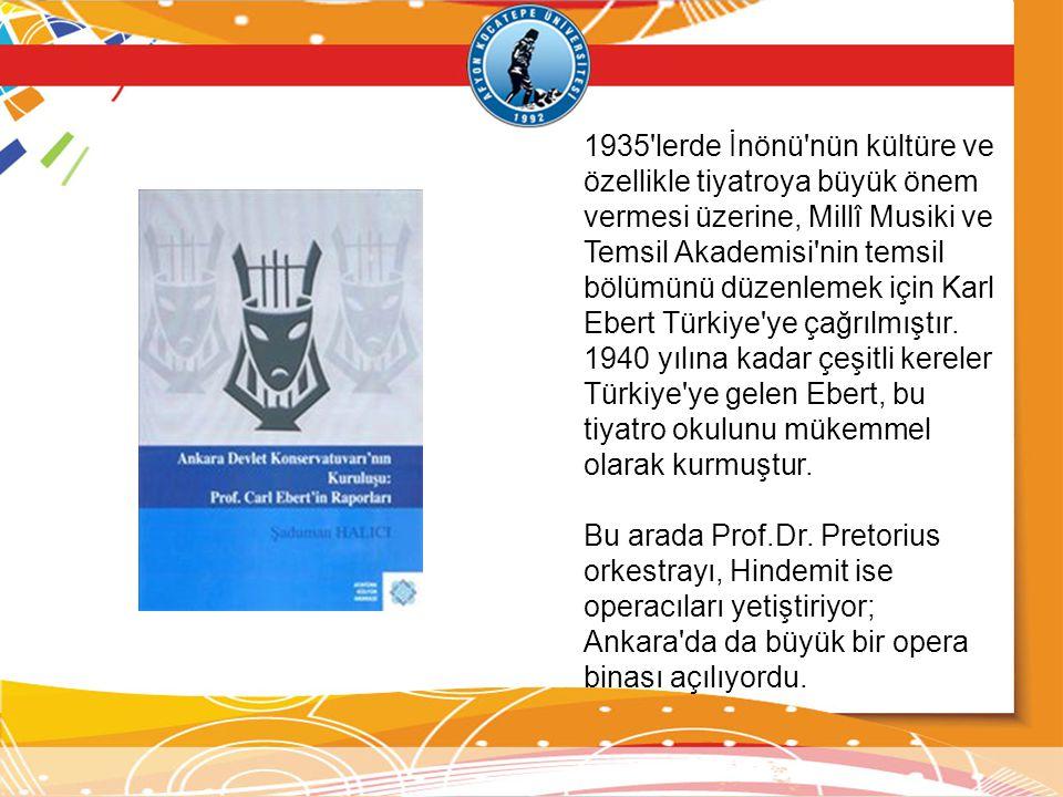1935'lerde İnönü'nün kültüre ve özellikle tiyatroya büyük önem vermesi üzerine, Millî Musiki ve Temsil Akademisi'nin temsil bölümünü düzenlemek için K