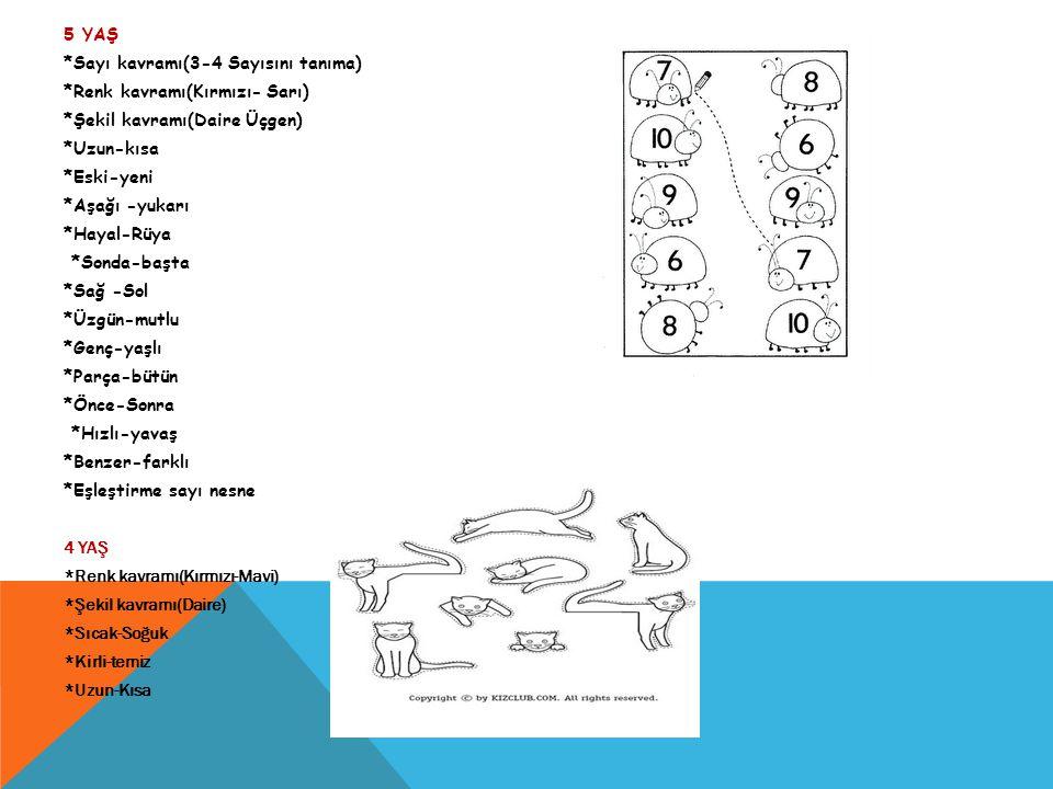 5 YAŞ *Sayı kavramı(3-4 Sayısını tanıma) *Renk kavramı(Kırmızı- Sarı) *Şekil kavramı(Daire Üçgen) *Uzun-kısa *Eski-yeni *Aşağı -yukarı *Hayal-Rüya *So