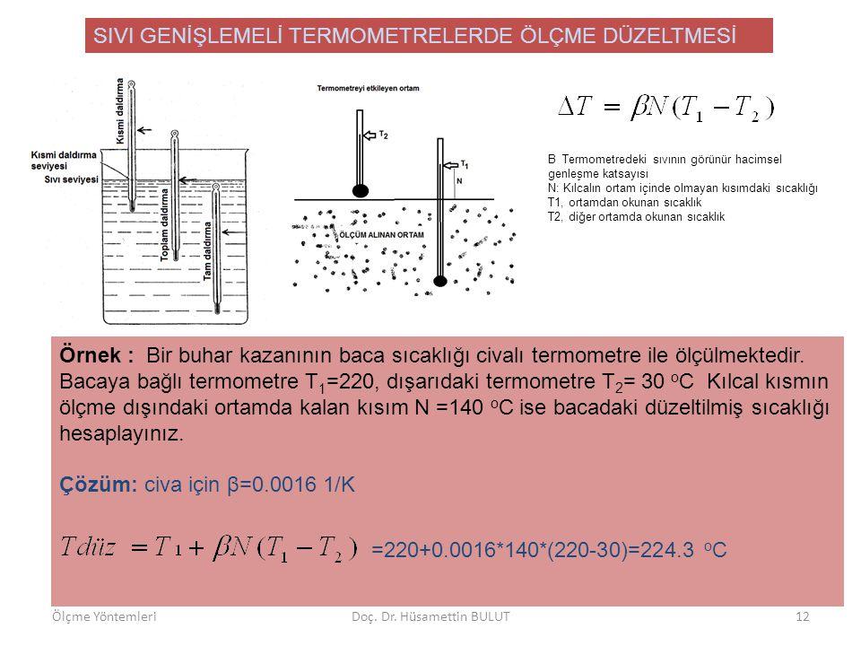 SIVI GENİŞLEMELİ TERMOMETRELERDE ÖLÇME DÜZELTMESİ Β Termometredeki sıvının görünür hacimsel genleşme katsayısı N: Kılcalın ortam içinde olmayan kısımd