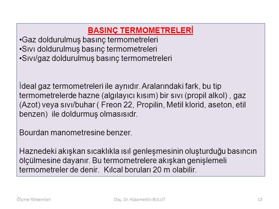 BASINÇ TERMOMETRELERİ •Gaz doldurulmuş basınç termometreleri •Sıvı doldurulmuş basınç termometreleri •Sıvı/gaz doldurulmuş basınç termometreleri İdeal