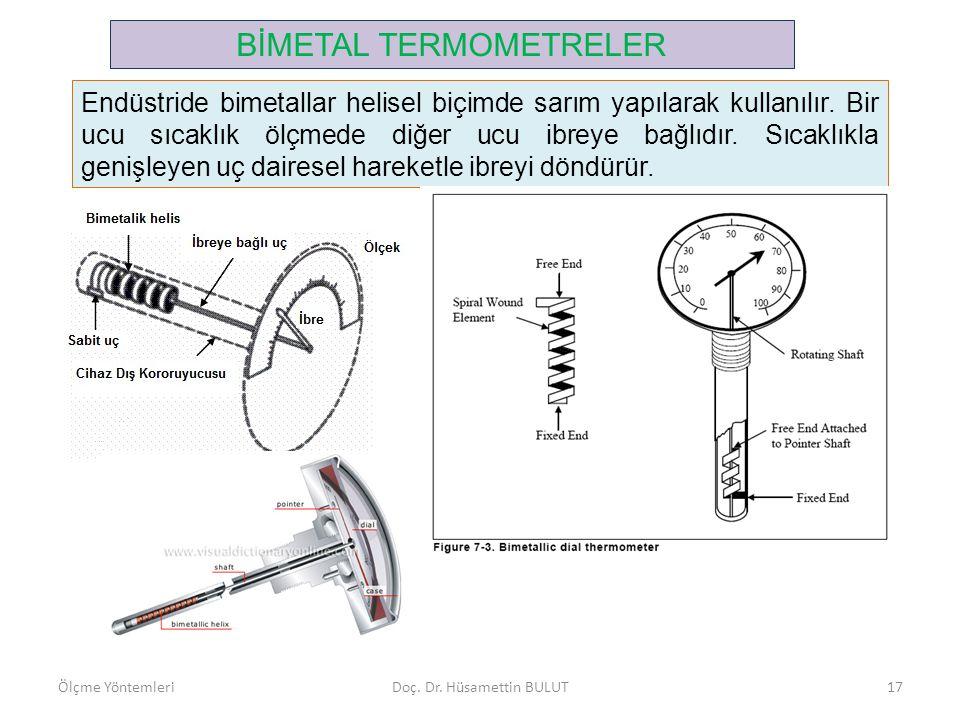 BİMETAL TERMOMETRELER Endüstride bimetallar helisel biçimde sarım yapılarak kullanılır. Bir ucu sıcaklık ölçmede diğer ucu ibreye bağlıdır. Sıcaklıkla