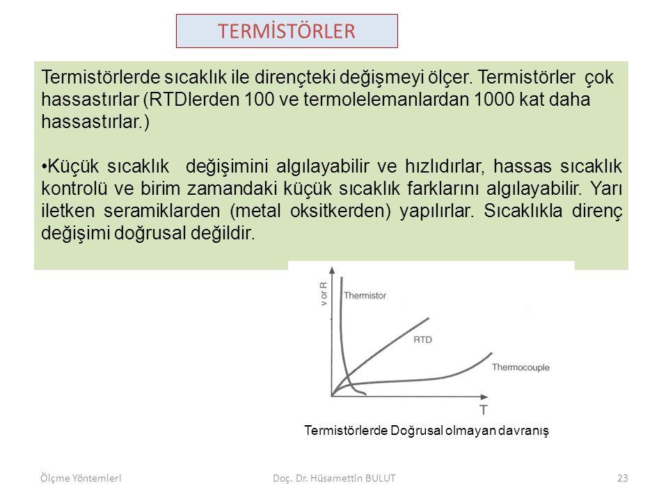 Termistörlerde sıcaklık ile dirençteki değişmeyi ölçer. Termistörler çok hassastırlar (RTDlerden 100 ve termolelemanlardan 1000 kat daha hassastırlar.