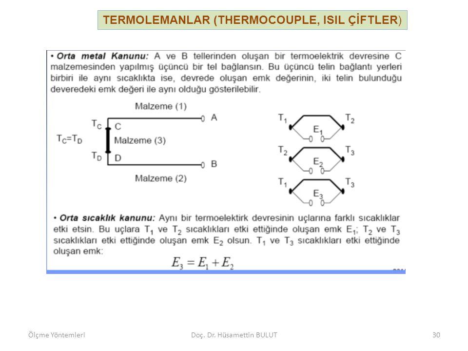 TERMOLEMANLAR (THERMOCOUPLE, ISIL ÇİFTLER) Ölçme YöntemleriDoç. Dr. Hüsamettin BULUT30
