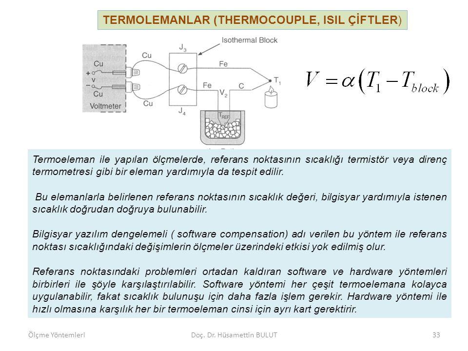 TERMOLEMANLAR (THERMOCOUPLE, ISIL ÇİFTLER) Termoeleman ile yapılan ölçmelerde, referans noktasının sıcaklığı termistör veya direnç termometresi gibi b