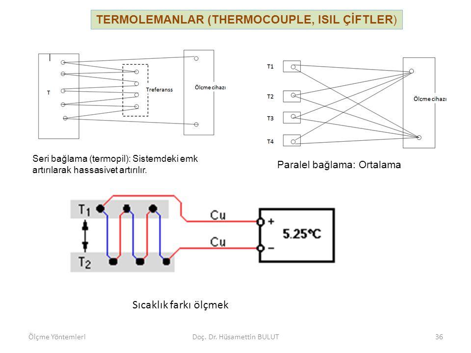 Seri bağlama (termopil): Sistemdeki emk artırılarak hassasiyet artırılır. Paralel bağlama: Ortalama sıcaklık ölçülür. TERMOLEMANLAR (THERMOCOUPLE, ISI