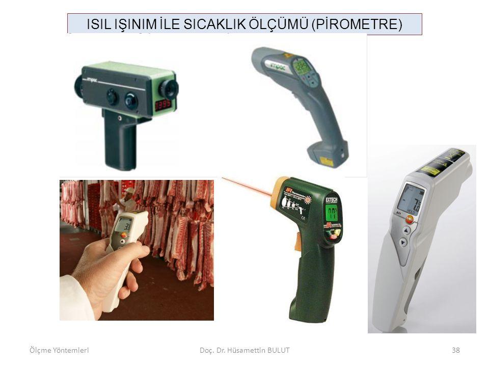 ISIL IŞINIM İLE SICAKLIK ÖLÇÜMÜ (PİROMETRE) Ölçme YöntemleriDoç. Dr. Hüsamettin BULUT38