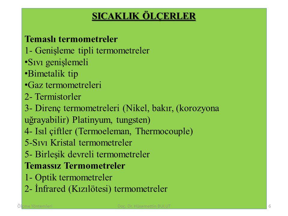 SICAKLIK ÖLÇERLER Temaslı termometreler 1- Genişleme tipli termometreler • Sıvı genişlemeli • Bimetalik tip • Gaz termometreleri 2- Termistorler 3- Di