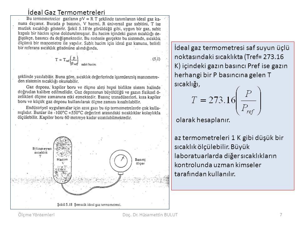 İdeal Gaz Termometreleri İdeal gaz termometresi saf suyun üçlü noktasındaki sıcaklıkta (Tref= 273.16 K) içindeki gazın basıncı Pref ise gazın herhangi
