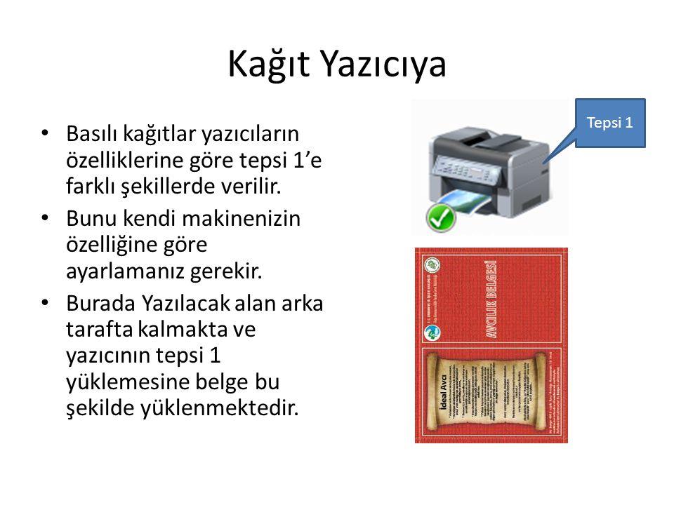 Kağıt Yazıcıya • Basılı kağıtlar yazıcıların özelliklerine göre tepsi 1'e farklı şekillerde verilir.