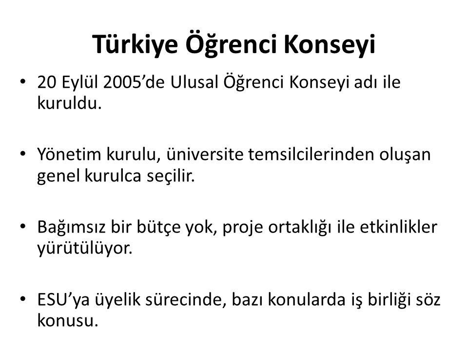Türkiye Öğrenci Konseyi • 20 Eylül 2005'de Ulusal Öğrenci Konseyi adı ile kuruldu. • Yönetim kurulu, üniversite temsilcilerinden oluşan genel kurulca
