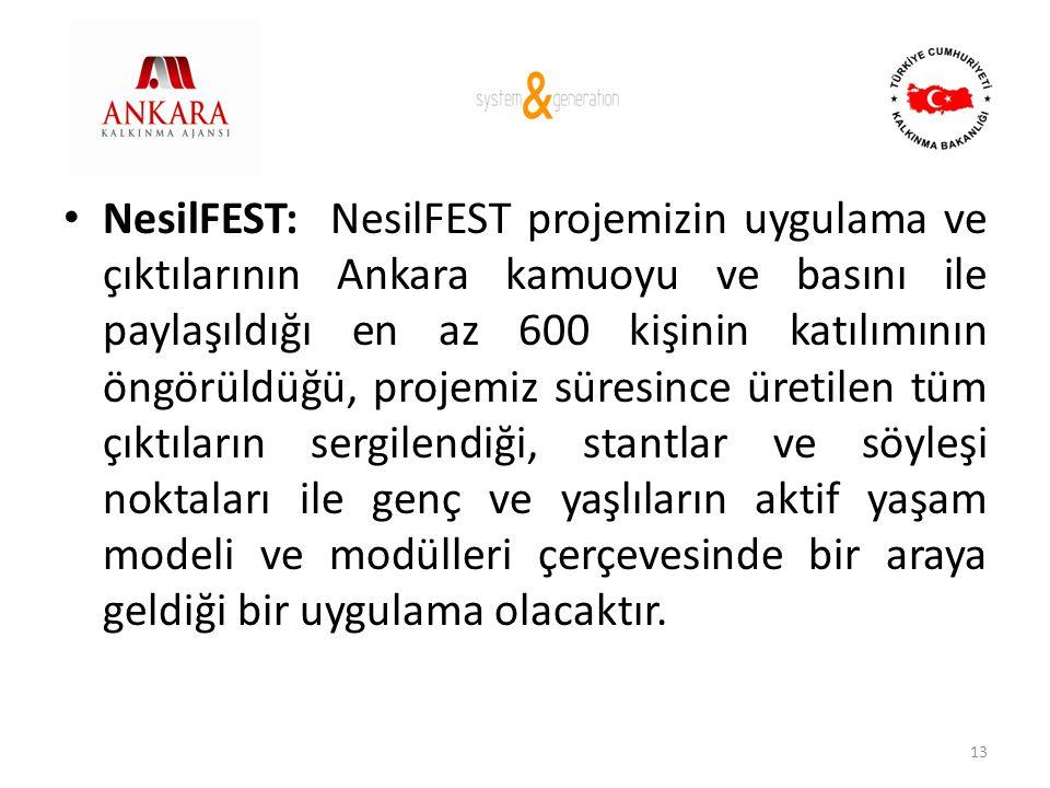 • NesilFEST: NesilFEST projemizin uygulama ve çıktılarının Ankara kamuoyu ve basını ile paylaşıldığı en az 600 kişinin katılımının öngörüldüğü, projem