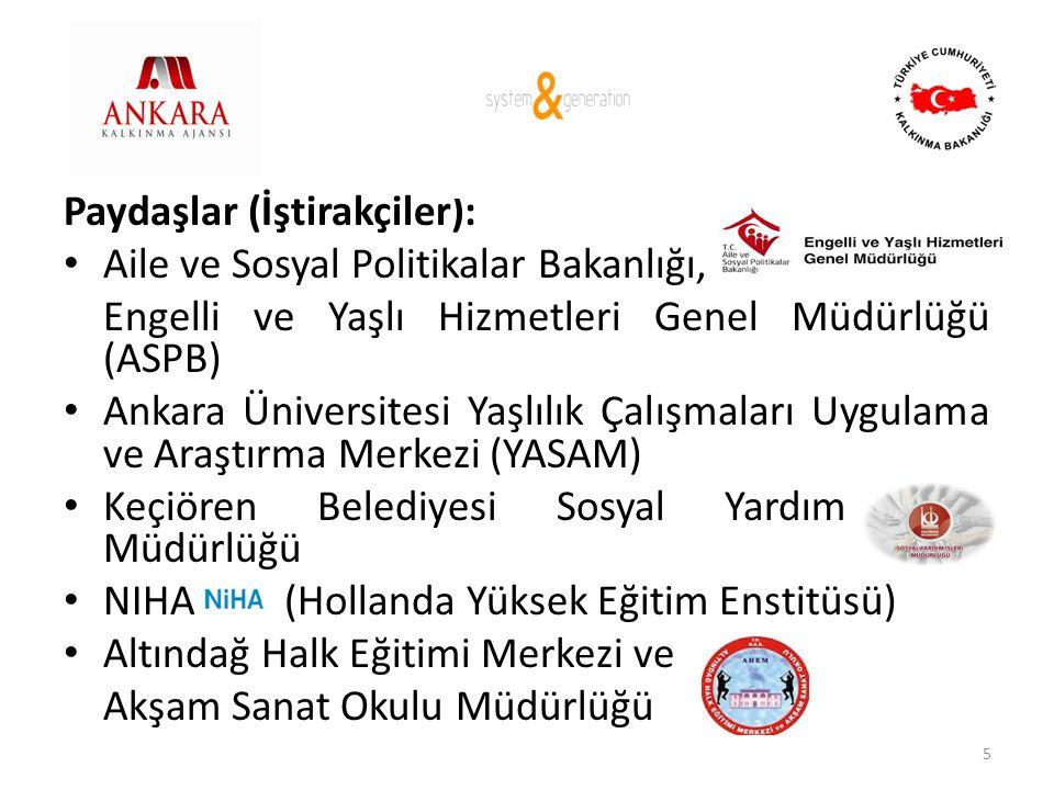 Paydaşlar (İştirakçiler): • Aile ve Sosyal Politikalar Bakanlığı, Engelli ve Yaşlı Hizmetleri Genel Müdürlüğü (ASPB) • Ankara Üniversitesi Yaşlılık Ça