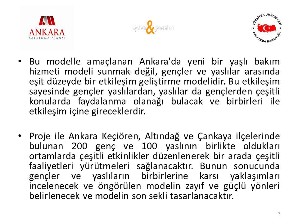 • Bu modelle amaçlanan Ankara'da yeni bir yaşlı bakım hizmeti modeli sunmak değil, gençler ve yaslılar arasında eşit düzeyde bir etkileşim geliştirme