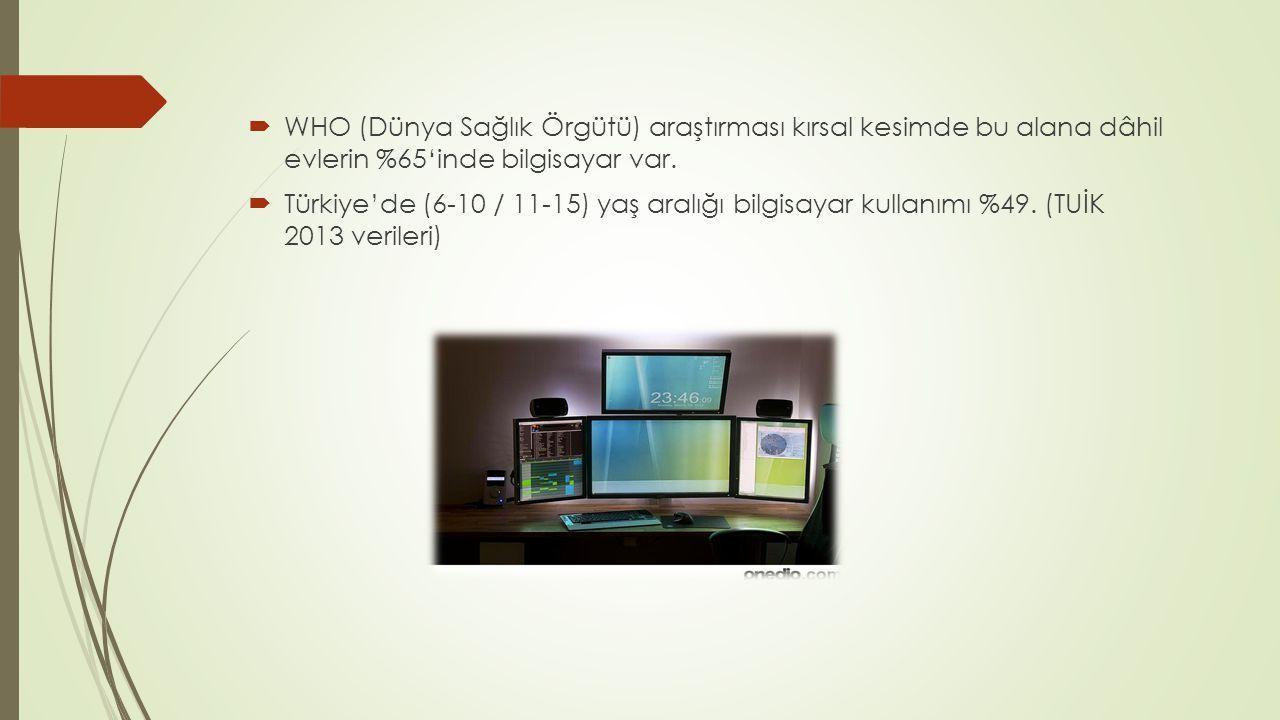  WHO (Dünya Sağlık Örgütü) araştırması kırsal kesimde bu alana dâhil evlerin %65'inde bilgisayar var.