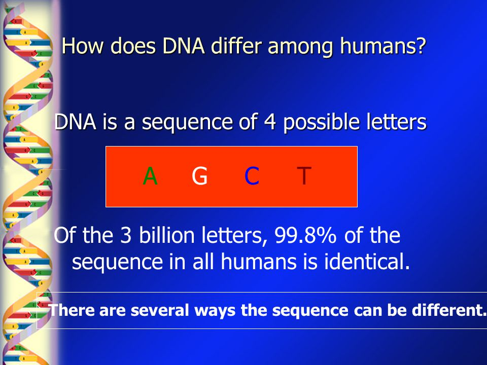 How does DNA differ among humans? DNA is a sequence of 4 possible letters GACT Of the 3 billion letters, 99.8% of the sequence in all humans is identi
