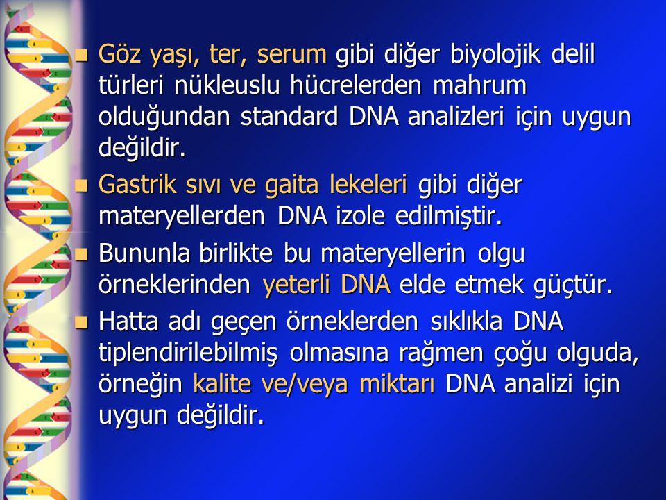  Göz yaşı, ter, serum gibi diğer biyolojik delil türleri nükleuslu hücrelerden mahrum olduğundan standard DNA analizleri için uygun değildir.  Gastr
