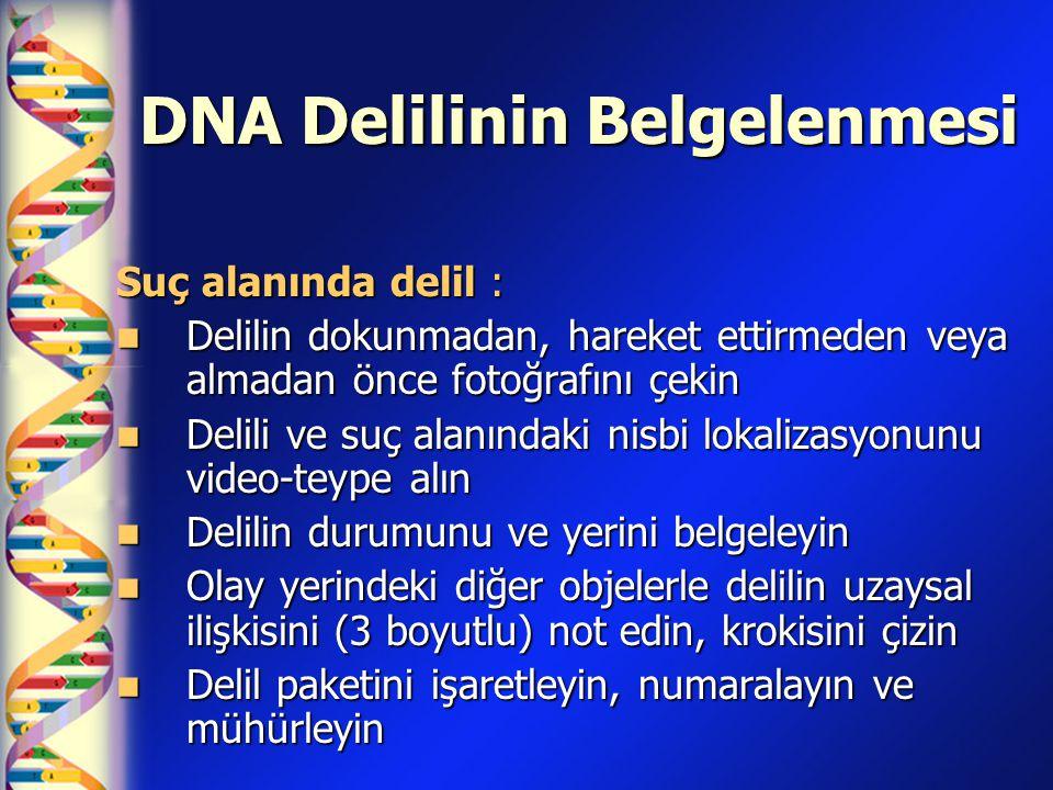 DNA Delilinin Belgelenmesi Suç alanında delil :  Delilin dokunmadan, hareket ettirmeden veya almadan önce fotoğrafını çekin  Delili ve suç alanındak