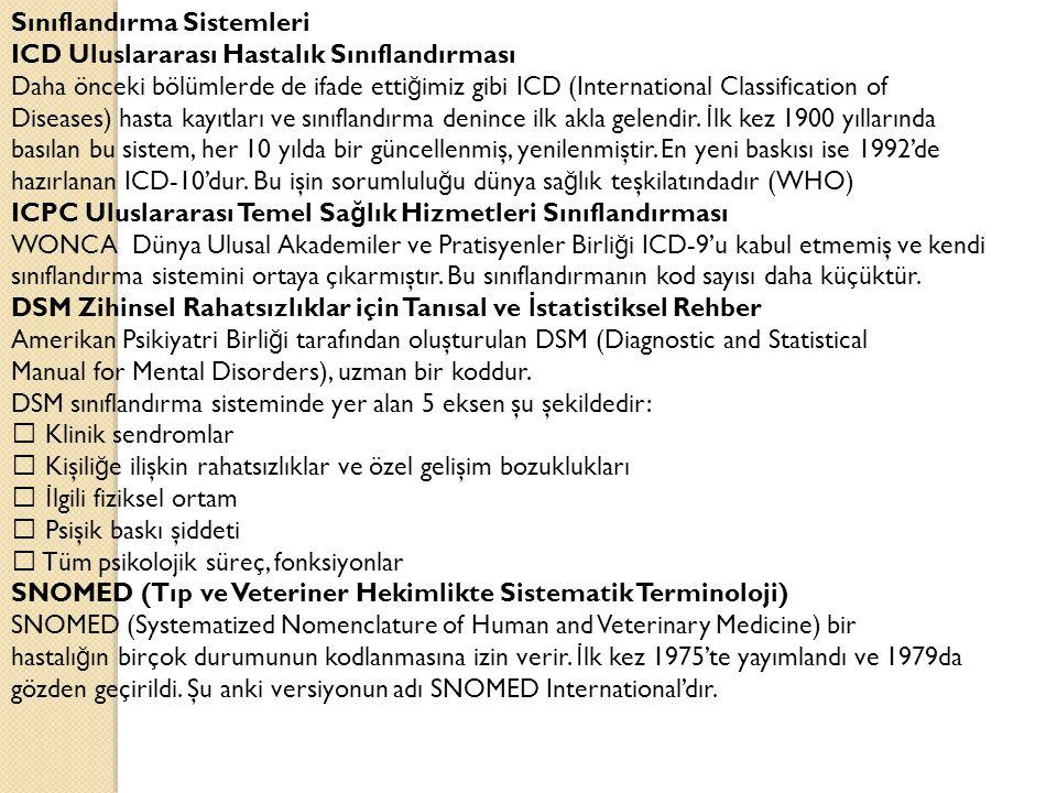 Sınıflandırma Sistemleri ICD Uluslararası Hastalık Sınıflandırması Daha önceki bölümlerde de ifade etti ğ imiz gibi ICD (International Classification of Diseases) hasta kayıtları ve sınıflandırma denince ilk akla gelendir.