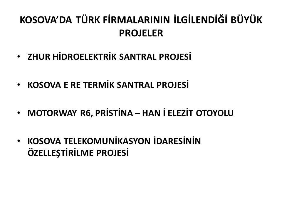 KOSOVA'DA TÜRK FİRMALARININ İLGİLENDİĞİ BÜYÜK PROJELER • ZHUR HİDROELEKTRİK SANTRAL PROJESİ • KOSOVA E RE TERMİK SANTRAL PROJESİ • MOTORWAY R6, PRİSTİ