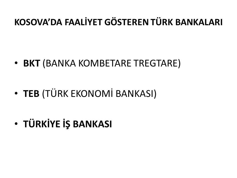KOSOVA'DA FAALİYET GÖSTEREN TÜRK BANKALARI • BKT (BANKA KOMBETARE TREGTARE) • TEB (TÜRK EKONOMİ BANKASI) • TÜRKİYE İŞ BANKASI