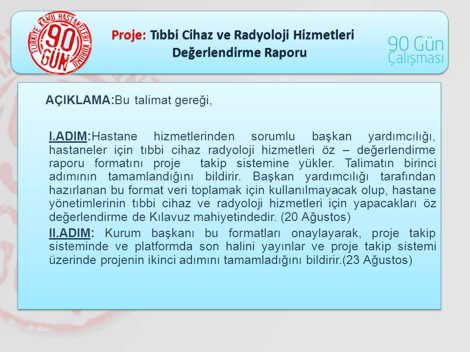 Proje: Tıbbi Cihaz ve Radyoloji Hizmetleri Değerlendirme Raporu Değerlendirme Raporu AÇIKLAMA:Bu talimat gereği, I.ADIM:Hastane hizmetlerinden sorumlu