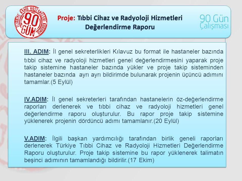 Proje: Tıbbi Cihaz ve Radyoloji Hizmetleri Değerlendirme Raporu III. ADIM: İl genel sekreterlikleri Kılavuz bu format ile hastaneler bazında tıbbi cih