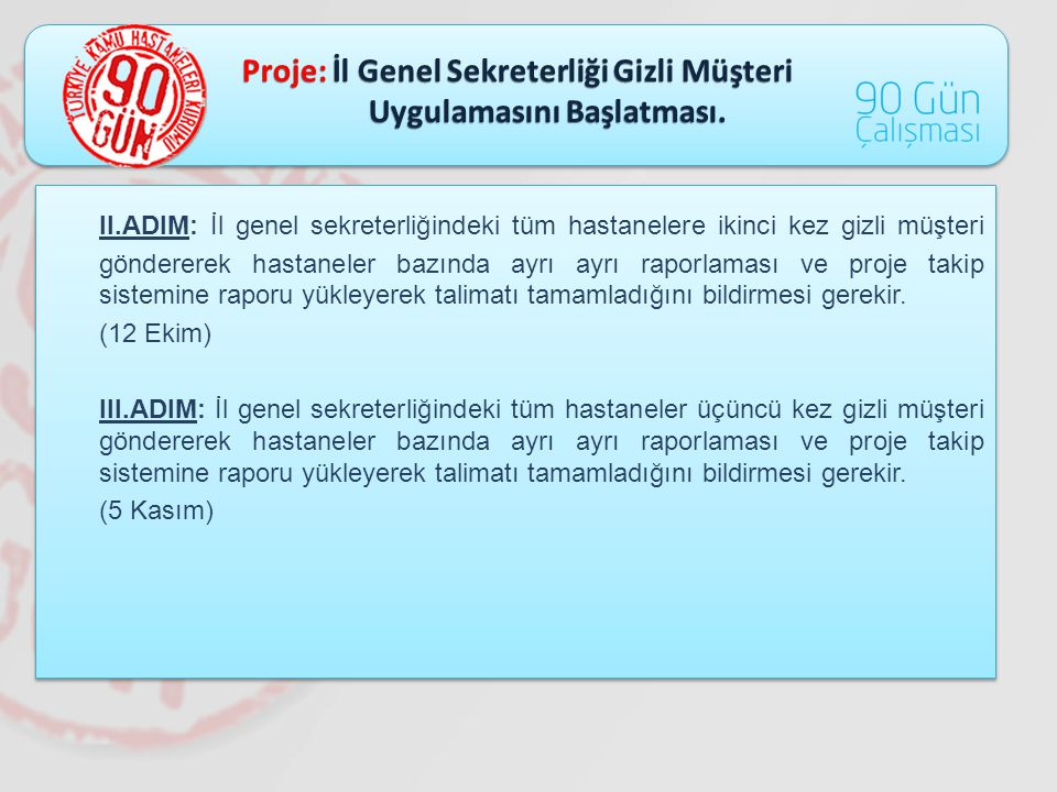 Proje: İl Genel Sekreterliği Gizli Müşteri Uygulamasını Başlatması. Uygulamasını Başlatması. II.ADIM: İl genel sekreterliğindeki tüm hastanelere ikinc