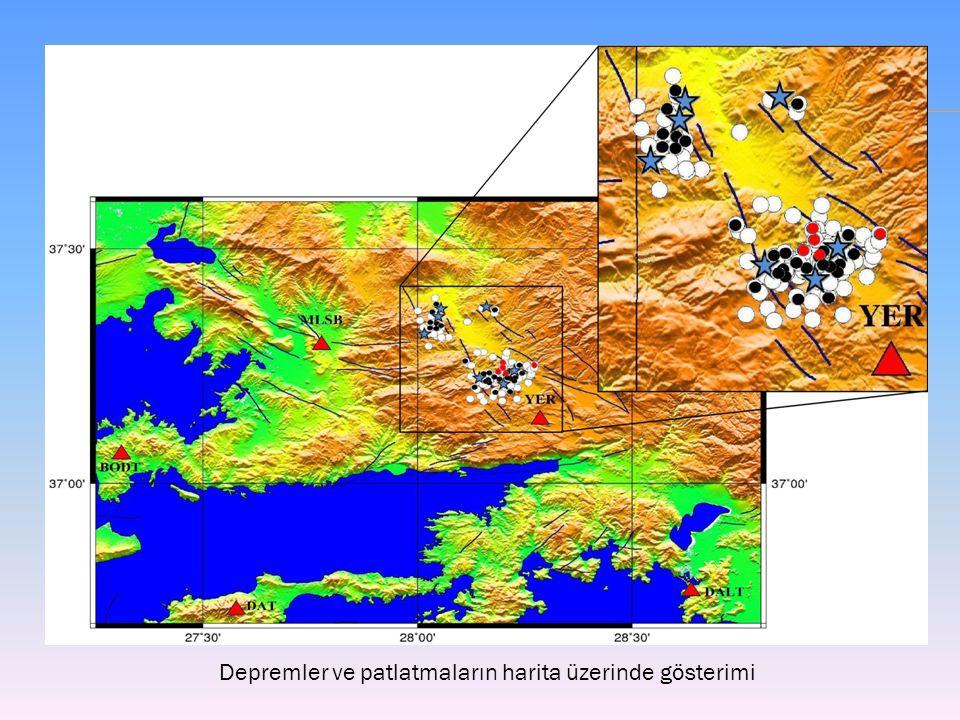 Depremler ve patlatmaların harita üzerinde gösterimi