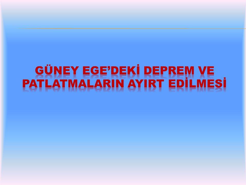 UDİM'e ait deprem istasyonları Türkiye maden yatakları haritası- MTA Çalışma bölgesine ait uydu fotoğrafı (Sarı imleçler bölgedeki istasyonları, mavi imleçler madenleri göstermektedir.)