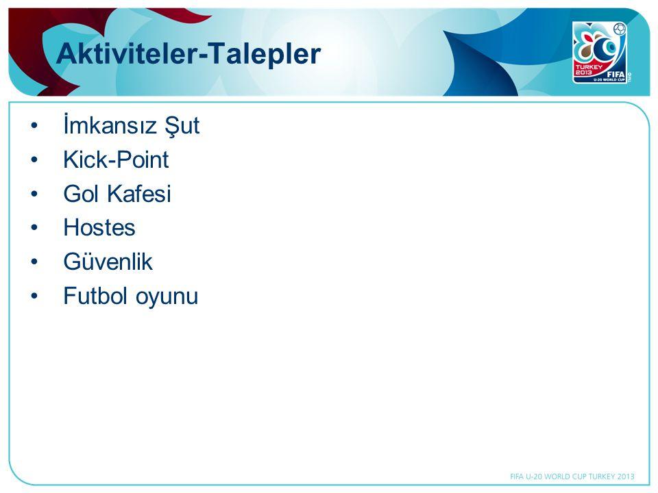 Aktiviteler-Talepler •İmkansız Şut •Kick-Point •Gol Kafesi •Hostes •Güvenlik •Futbol oyunu